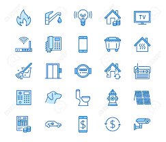 Public Utilities Flat Line Icons Rent Receipt Electricity Water