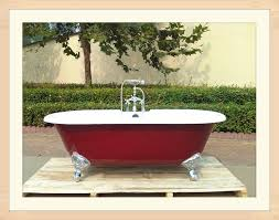 china freestanding double ended cast iron bathtub in red painting sw 1003a china double slipper cast iron bath tubs enamel cast iron bath tubs