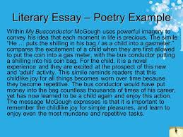 how to write essays some helpful tips contents cut the waffle  literary essay poetry example in my busconductor mcgough uses powerful imagery to convey his idea