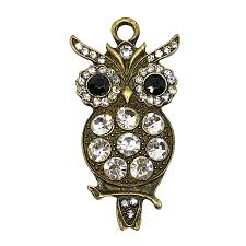 owl pendant imitation crystal rhinestones 09186 antique bronze rhinestone accents jewelry making vintage jewelry bird jewelry