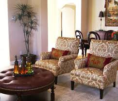 Patterned Living Room Chairs Round Tufted Ottoman Living Room Traditional With Beige Armchair