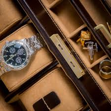 mens leather watch and accessories box