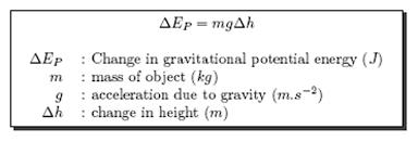 formula for change in gravitational potential energy