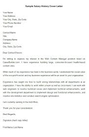Cover Letter With Salary History And Requirements 9 Sample Salary