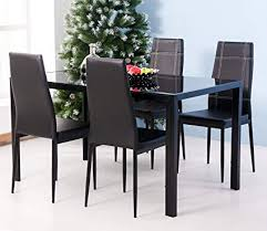 merax 5pc gl top dining set 4 person dining table and chairs set kitchen modern furniture