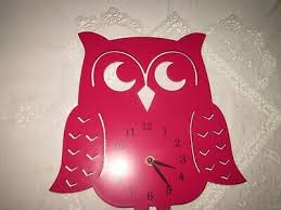 gorgeous red owl shaped wall clock w