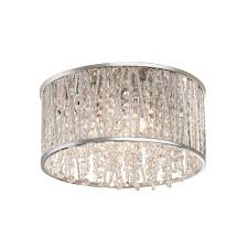 3 light polished chrome and crystal drum shape flush mount