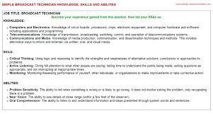 Sample Broadcast Technician Resume Audio Engineer Resume Audio ...