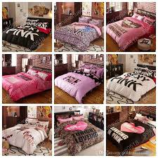 pink bedding set vs duvet covers pink letter bed sheet bedclothes set leopard flower pillowcases fashionable bedding home textiles kids comforter sets boys