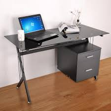 black glass top computer desk w drawers complete