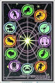 Geek Zodiac Chart Original Vintage Black Light Poster Zodiac Sign 12 Sex