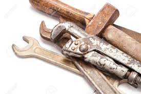 metal tools. old metal work hand tools with rust on white background stock photo - 19189821