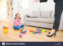 office play. Business Woman Back From Office And See Her Daughter Play Toys Messy Up The Living Room Feel Angry Criticize Sadness Asian Kid Girl At Home. K