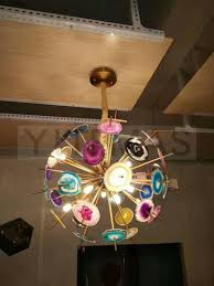 Antique Brass Pendant Light Fixtures Us 404 89 20 Off Blue Pink Purple Yellow Green Brown Natural Agate Stone Slices Antique Brass Pendant Light Fixture With G9 Led Bulb Included In