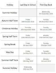 Holiday Dates - The Oaks Academy