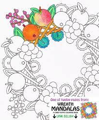 Small Picture Mandala Coloring Page Fruit Wreath printable wreath