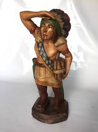 hand carved wooden indian cigar display early 20th century united states