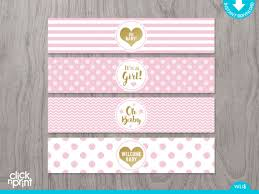 Decorating Water Bottles For Baby Shower Pink and Gold Baby Shower Print Yourself Water Bottle Labels Girl 43