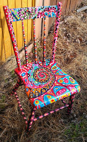 funky style furniture. Amazing Diy Painted Chairs Fractal Style Abstract Childu0027s Recycled Chair Funky Furniture