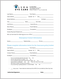 how to fill out a form patient forms olson eye care