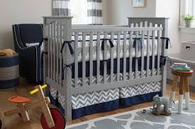 gray navy crib bedding