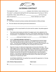 Catering Contract Template Templates Mtuzmde Resume