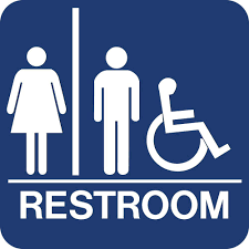 Lynch Sign 8 In X 8 In Blue Plastic With Braille Restroom