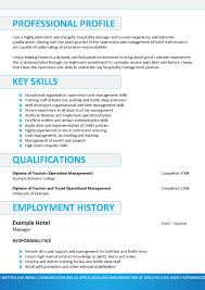Hospitality Resume Templates Best And Cv Inspiration Examples 2014