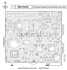 floor plan with furniture. set top view for interior icon design floor plan architecture with furniture in