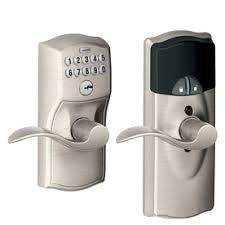 schlage camelot satin nickel universal electronic entry door lever