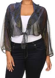 women s plus size bolero shrug metallic tie front ruffle detail 3 4 sleeve blue bc70263