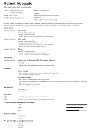 Computer Science Cs Resume Example Guide Template
