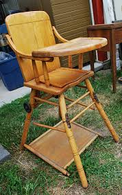 old wooden high chair complete with tray and hinged legs find it at