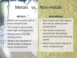 Metals vs. Non-metals. To the right of and above the zigzag line ...