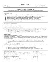 Body Repair Sample Resume