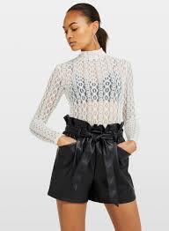 Ivory Long Sleeve Lace Funnel Neck Top | Miss Selfridge
