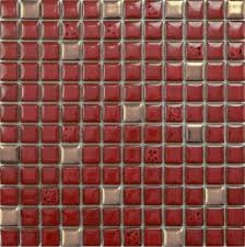Red Floor Tiles Kitchen Glazed Porcelain Tile Sheets Bathroom Porcelain Ceramic Mosaic Red