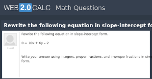 rewrite the following equation in slope