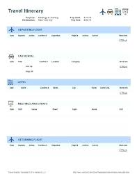 Word Travel Itinerary Template Microsoft Travel Itinerary Template Vivafashion Info