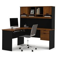 bestar innova l shape wood computer workstation with hutch in tuscany brown