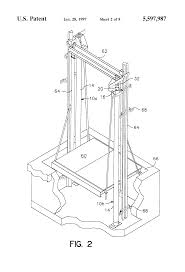 patent us5597987 twin post telescoping jack hydraulic elevator patent drawing
