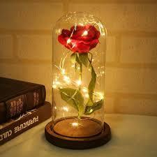Enchanted Led Rose Light Enchanted Led Forever Rose Rose In A Glass Flower Lamp