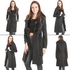 womens wool coat faux fur collar belt long sleeve knee length jacket size 8 16