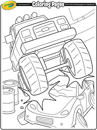 Monster Truck Crushing a Car Coloring Page | crayola.com