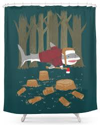 perfect decoration shark shower curtain marvelous idea society6 lumberjack eclectic