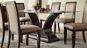 glass dining room table with leather chairs. fancy design ideas using rectangular brown rugs and leather stacking chairs also with glass dining room table u