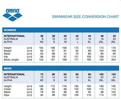 Arena Swimsuit Size Chart Arena Powerskin Xp Jammer Explicit Arena Carbon Pro Size Chart