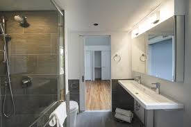 view gallery bathroom lighting 13. Bath Room, Wall Mount Sink, Porcelain Tile Floor, Concrete Counter,  Enclosed Shower View Gallery Bathroom Lighting 13