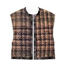 celine brown shades wool leather vest for