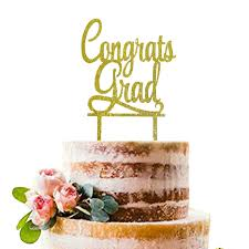 Amazoncom Gold Congrats Grad Cake Topper Acrylic Graduation Cake